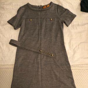 Tory Burch Gray Knit Belted Dress